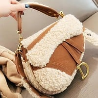 Dior New fashion artificial plush shoulder bag crossbody bag handbag saddle bag
