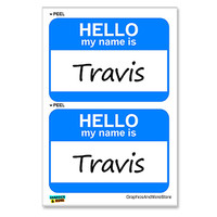 Travis Hello My Name Is - Sheet of 2 Stickers