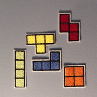 Tetris -- Set of Five Nintendo Throwback Embroidered Iron-on NES Patches