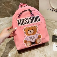 MOSCHINO fashion sells bear pin printed casual ladies backpack