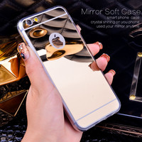 Gold Luxury Bling Mirror Case For Iphone 6 6S Plus 5.5 Clear  Edge Ultra Slim Flexible Soft Cover For Iphone6 6S 4.7inch