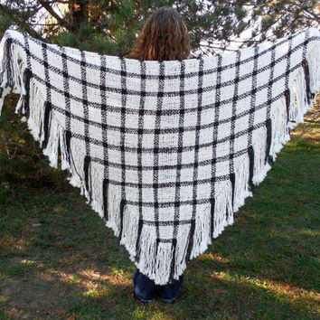Handwoven Shawl Large Hand Loomed Woven Triangle Shawl Wrap Black and White Plaid