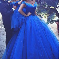 [138.99] Attractive Tulle Off-the-shoulder Neckline Ball Gown Formal Dresses With Hot Fix Rhinestone - dressilyme.com