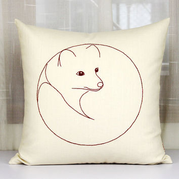 Cute fox pillow cases,Fox Sketch pillows,Handmade embroidered cushion covers, Home decor pillowcase,Throw pillows sofa