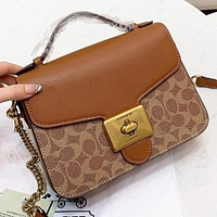 Samplefine2 COACH Fashion New Pattern Leather Shopping Leisure Shoulder Bag Handbag Crossbody Bag Women Brown