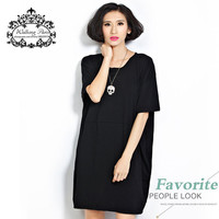 Summer Style Plus Size T Shirt Dress Women's Clothing Fashion Tee Casual Cotton Dresses Solid Loose Oversize Female Tops T-Shirt