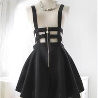 Harajuku Jouetie Unif  Dark Gothic Punk Style Hollow Out Bandage Suspender Skirts cutout elastic braces pleated strips skirt