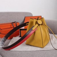 HCXX 19June 286 Hermes Licol Casual Evercolor Leather Fashion Bucket bag yellow