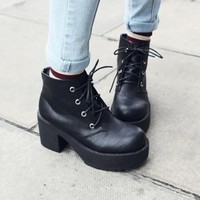 Women Platforms Thick Heels Lace Up Fleece Xmas Shoes Winter Ankle Short Boots