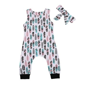 Lovely Infant Baby Boys Girls Feather Romper Sleeveless Jumpsuit+ Headband Outfits