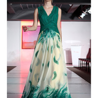 Alluring A-line V-neck Nano Tencel Print Floor Length Prom Dress-SinoSpecial.com