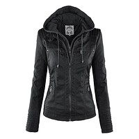 Gothic faux leather Jacket Women hoodies Winter Autumn Motorcycle Jacket Black Outerwear faux leather PU Jacket 2018 Coat HOT