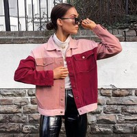 Women Long Sleeve Color Patchwork Pocket Cotton Cardigan Tops Sport Jacket Top Blouse