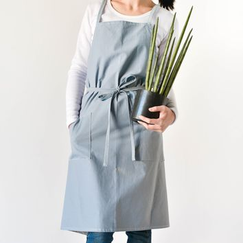 Unisex Soft Cotton Linen Apron for Adults Japanese-Inspired Style, Basic Baby Blue