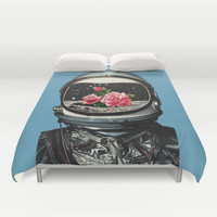 Spring Crop at the Rosseland Crater Duvet Cover by Eugenia Loli