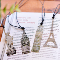 1pcs lot Creative European Vintage building metal bookmark Eiffel Tower Statue Of Liberty Elizabeth Tow personalized book marks