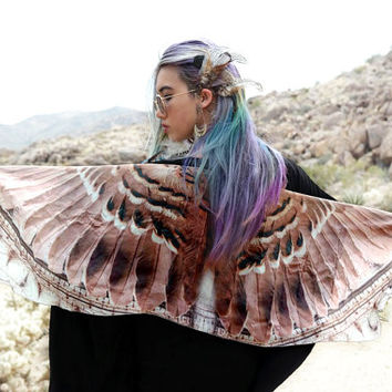 FALCON • Bird Wing Scarf • Sheer Silk Bird Wing Shawl • Handmade Boho Chic Bird Medicine Totem Spirit Animal Scarf • Wearable Art Chic Gift