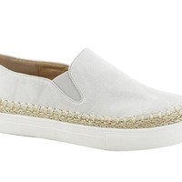 Suede and Espadrille Slip on Sneakers Light Grey