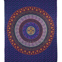 Purple Plum And Bow Medallion Mandala Hippie Tapestry Indian Bohemian Wall Hanging