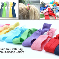 No Tug Hair Tie Grab Bag (25) Ribbon Hair Ties Gift Set - Emi Jay Inspired Cloth Hair Bands - Knotted Hair Tie Women's Accessories