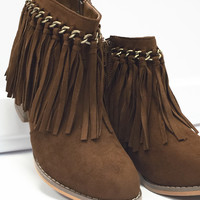 Fantastic Fringe Saddle Brown Ankle Boot