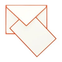 Color Edge Cream and Orange Boxed Flat Note Cards