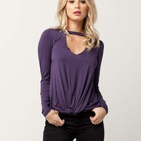 SOCIALITE Knot Front Womens Choker Top | Blouses