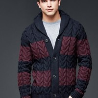 Gap Men Lambswool Shawlneck Rugby Cable Cardigan