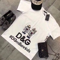 DCCK6HW Dolce & Gabbana' Women Casual Personality Robot Letter Print Short Sleeve Round Neck T-shirt Top Tee