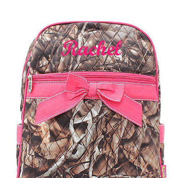 Pink Camo Monogrammed Backpack  Monogram Quilted Backpack  Personalized Backpack
