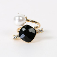 Gold Faux Pearl And Rhinestone Detail Open Ring