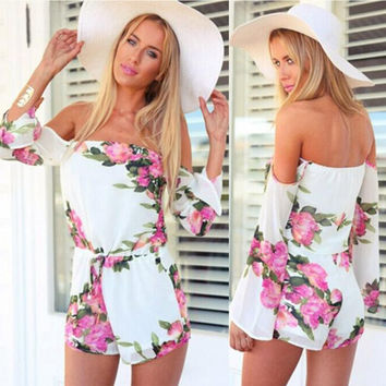 Elegant Rompers Womens Jumpsuit Women Sexy Floral Printed Off-Shoulder Chiffon Long Sleeved Jumpsuits 2016 Short Pant overalls