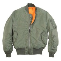 Mens U.S Army Military Classic Bomber Flight Jacket Pilot jacket Air Force Tactical Jacket Orange Lining For Rescue Purpose