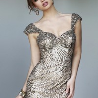 Sherri Hill 9719 - Gold Fitted Sequin Homecoming Dresses Online
