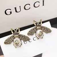 GUCCI Hot Sale Women Retro Bee Pearl Earrings Jewelry Accessories