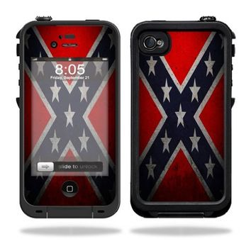 MightySkins Protective Vinyl Skin Decal Cover for LifeProof iPhone 4 / 4S Case Sticker Skins Rebel Flag