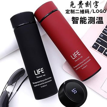 304 Stainless Steel Frosted Smart Thermos Mug For Men And Women Water Cups