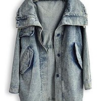 Blue Lapel Long Sleeve Pockets Denim Trench Coat S043