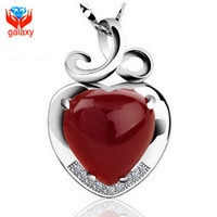 Sterling Silver Jewelry Top Quality Natural Red Agate Heart Pendant Necklace  Women Romantic Gift of Valentines