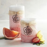 Pink Champagne Layered Pillar Candles