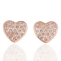 Rose Gold Heart Clear Cubic Zirconia Stud Earrings
