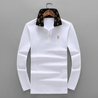 LV 2018 autumn and winter new long-sleeved lapel embroidery logo men's long-sleeved T-shirt White