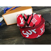 Supreme- x- Louis -Vuitton- Monogram- Belt -Red