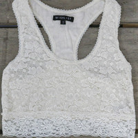Keep Your Eyes On Me Ivory Lace Racerback Bralette
