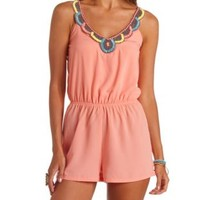 Embellished Bib Strappy Romper by Charlotte Russe - Fusion Coral