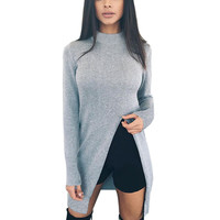 High Quality Women's Cotton Side Split Pullovers Long Sleeved O Neck Solid Long Sweater Tops Plus Size 3 Colors LX097
