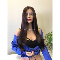 Chocolate Burgundy Loose Curl Hair Multi Parting SWISS Lace Front Wig - Lisha cb002-1