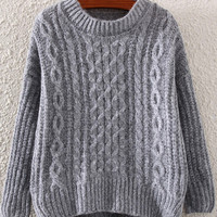 Grey Jacquard Sweater