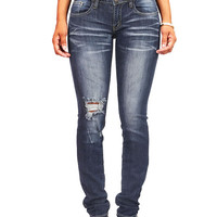 Knee Scrape Straight Jeans