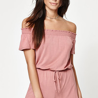 LA Hearts Smocked Off-The-Shoulder Romper at PacSun.com